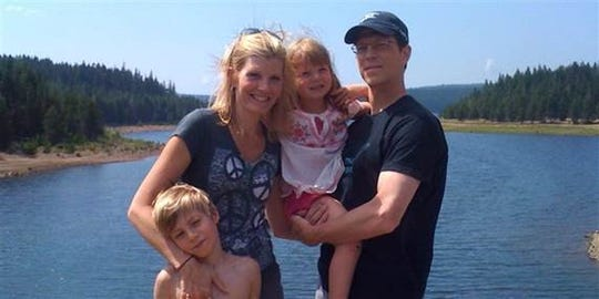 Kate Snow with her husband, Chris Bro, and their children outside Portland, Oregon, in August 2010.