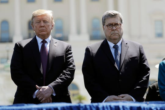 President Donald Trump and Legal expert General William Barr lend a hand the thirty eighth Annual National Peace Officers' Memorial Carrier at the U.S. Capitol, Would per chance well also 15, 2019, in Washington.