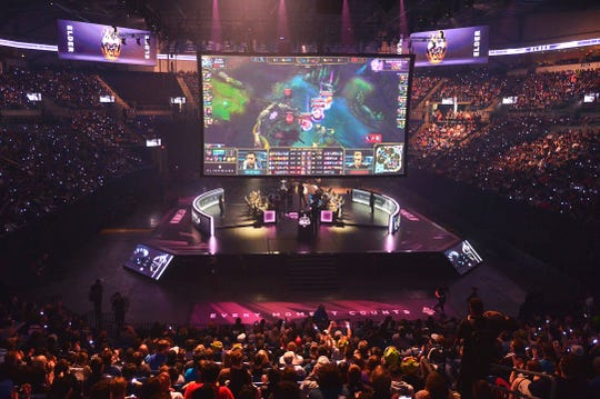 A general view as Team Liquid and TSM battle during the League of Legends Championship Series Spring Finals at Chaifetz Arena in St. Louis.