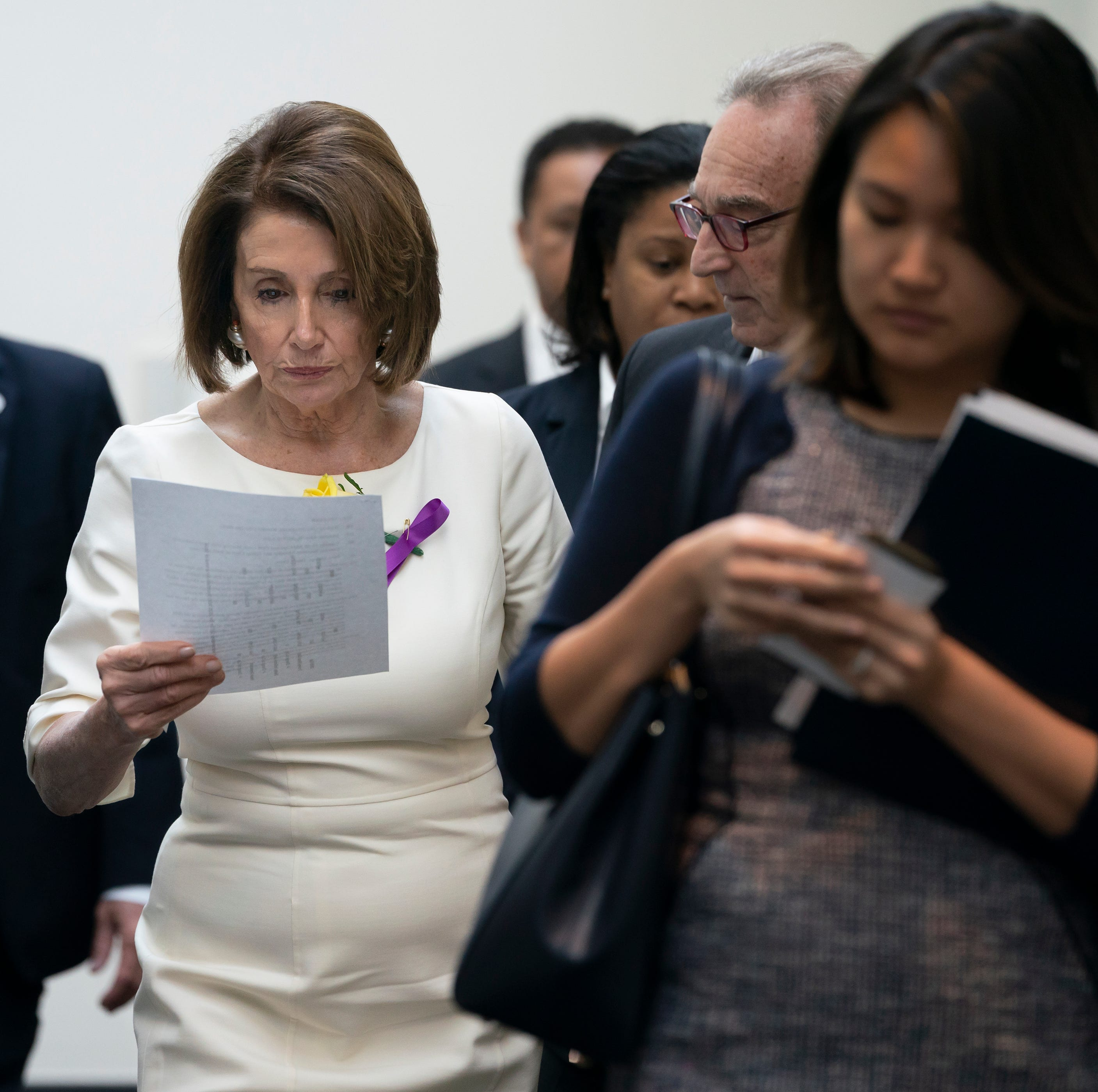 Speaker of the House Nancy Pelosi, D-Calif., departs a meeting with the Democratic Caucus at the Capitol in Washington, Tuesday, May 21, 2019.