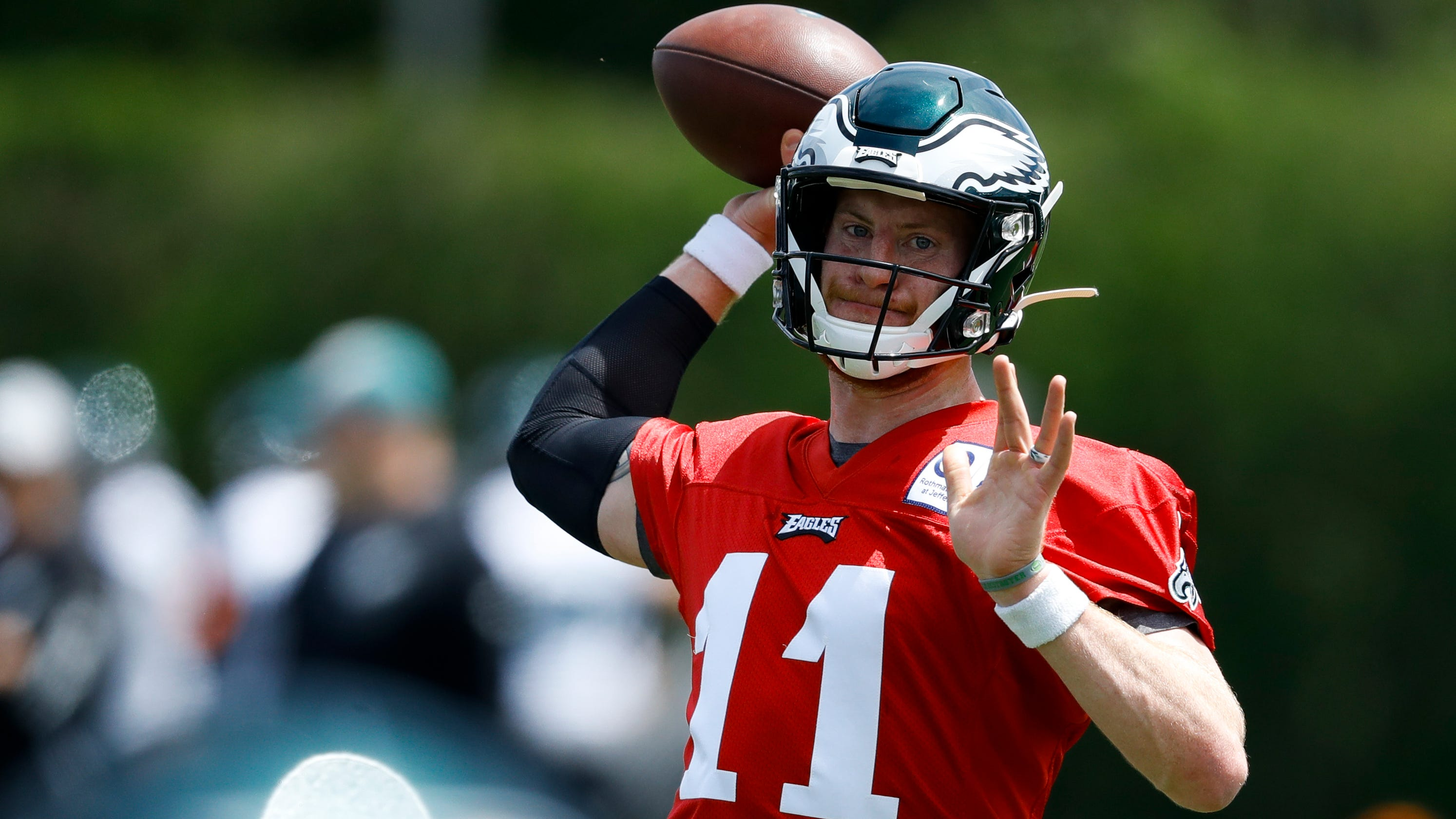 ad94d8b20a6 Eagles' Carson Wentz practicing at OTAs, but Malcolm Jenkins absent