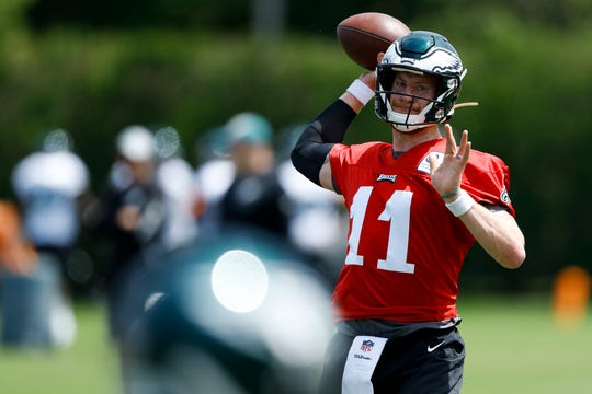 Wentz participates in a drill on Tuesday.