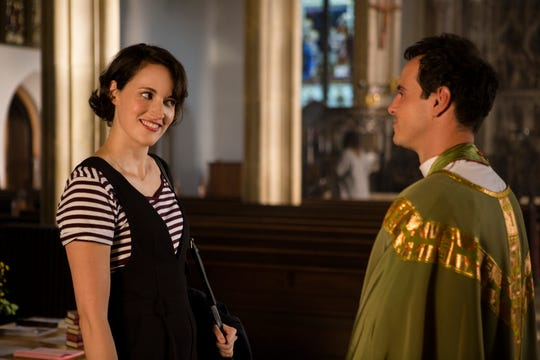 "In ""Fleabag,"" many characters don't get real names, and are identified by their role. Here Fleabag (Phoebe Waller-Bridge) talks to the Priest (Andrew Scott)."