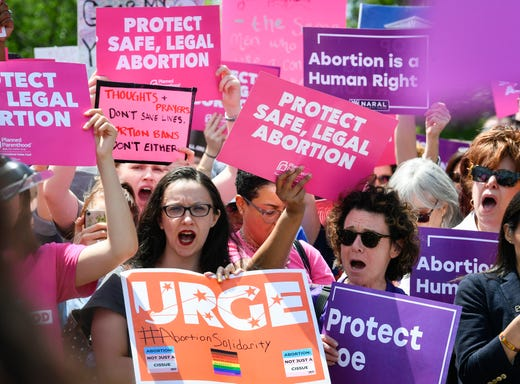 5/21/19 12:00:44 PM -- Washington, DC, U.S.A -- Protesters rally to stop the abortion bans in the United States on the steps of the U.S. Supreme Court in Washington on May 21, 2019. -- Photo by Jack Gruber, USA TODAY Staff ORG XMIT: JG 138040 abortion protest 5/21 (Via OlyDrop)