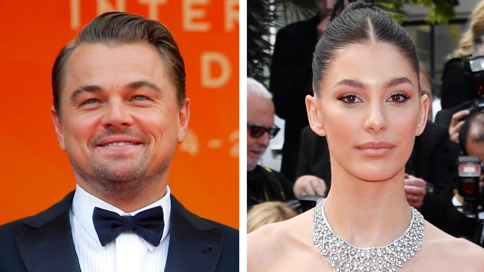 """Leonardo DiCaprio looked happy at the premiere of """"Once Upon a Time in Hollywood,"""" which his girlfriend Camila Morrone also attended."""