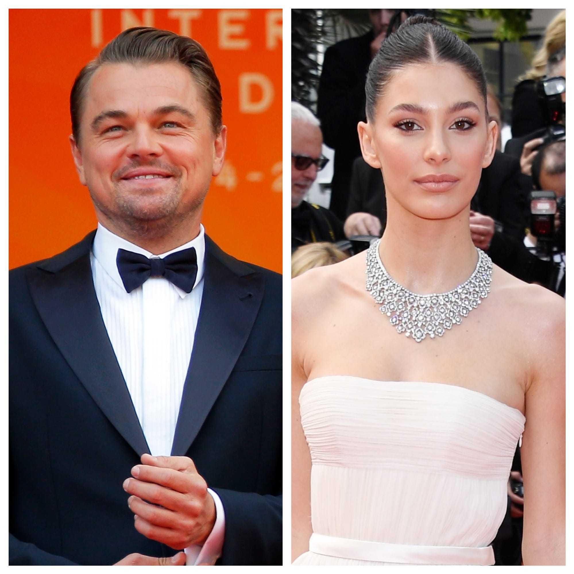 "Leonardo DiCaprio looked happy at the premiere of ""Once Upon a Time in Hollywood,"" which his girlfriend Camila Morrone also attended."