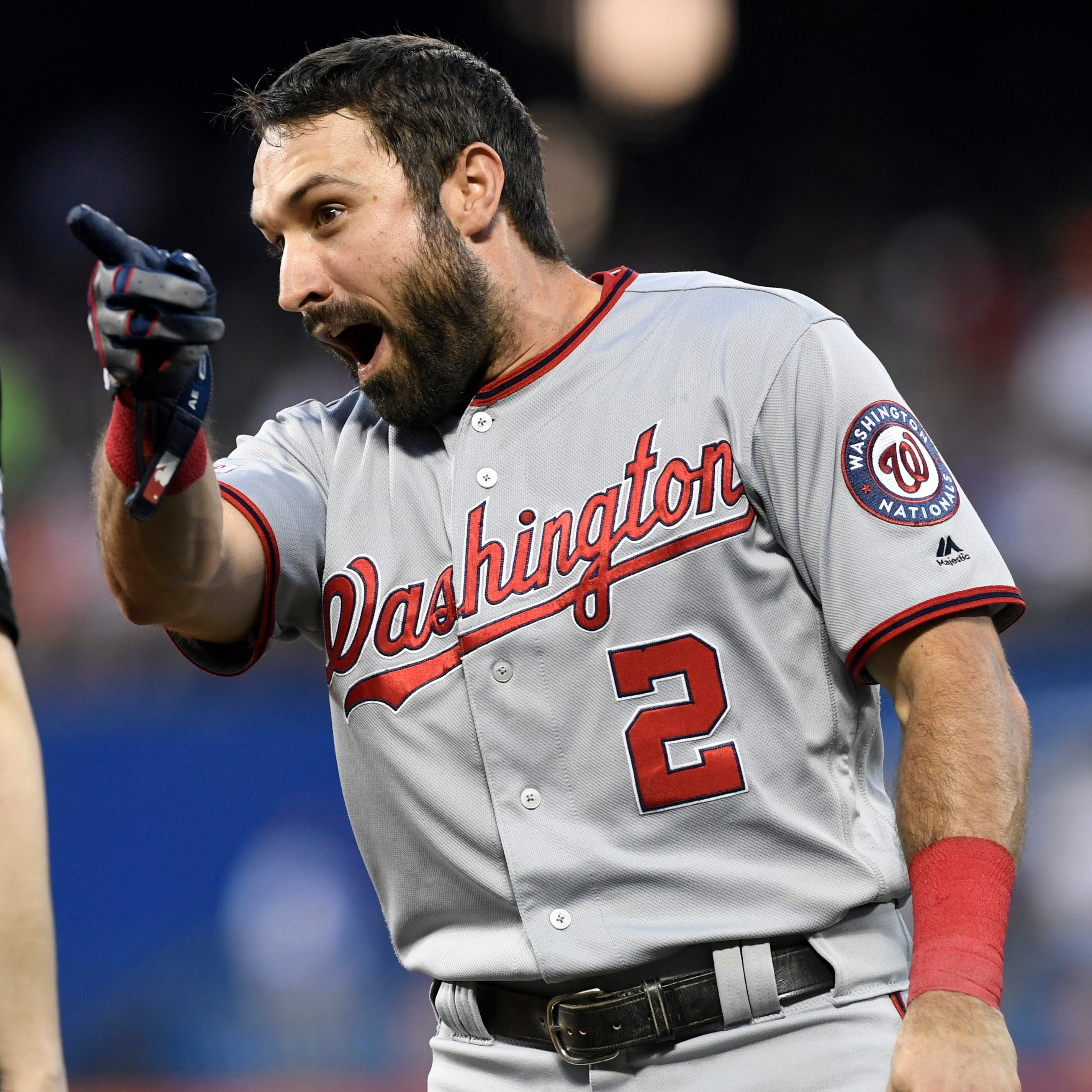 Nationals' Adam Eaton and Todd Frazier, not pictured, exchange words.