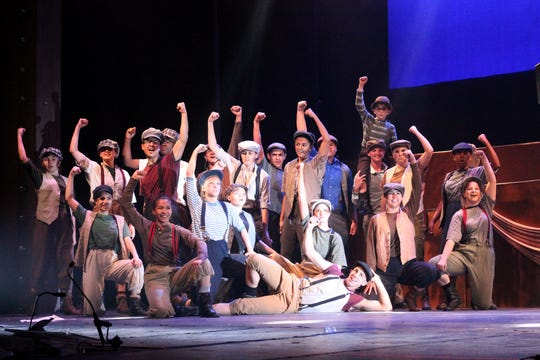"Matawan Regional High School students rehearse a scene from ""Newsies"" for the annual Basie Awards. The show was named outstanding musical."