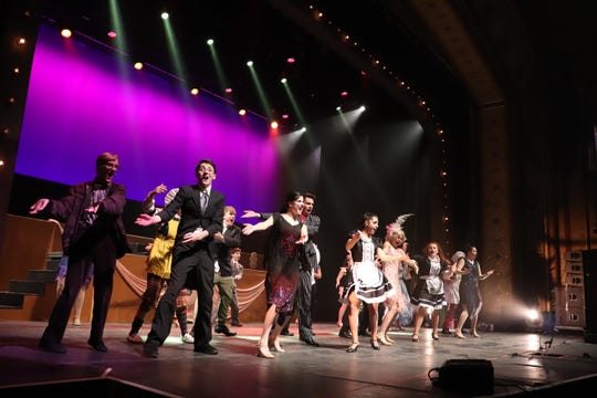 "Red Bank Catholic High School students rehearse a number from ""The Drowsy Chaperone"" for the annual Basie Awards."