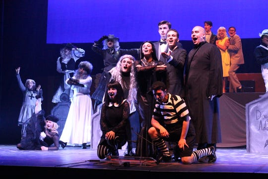 "Rumson-Fair Haven students rehearse a scene from ""The Addams Family"" for the annual Basie Awards."