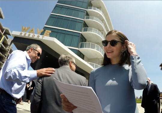 Kusher Companies Principal Nicole Kushner-Meyer is shown before cutting the ribbon marking the opening of the Wave Resort on the Long Branch boardwalk Wednesday, May 22, 2019.