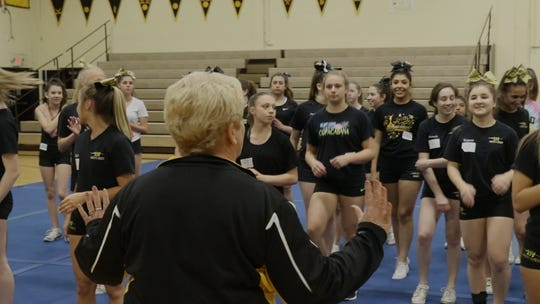 Jayne Shalkowski coaches St. John Vianney cheerleaders in Holmdel in June 2018.