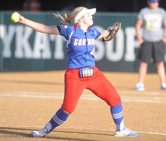 Gorman pitcher Caitlyn Clark gets ready to deliver a pitch in the Region II-1A softball final against Dodd City on Tuesday at Kennedale High School.