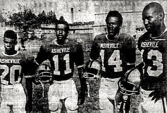 South French Broad players in 1968 who, with the exception of Wilks, played for Asheville High the next year. From left to right: James Fair, Al Wilks, John Gaines, and Fred Ryan.