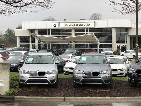BMW of Asheville will move this summer from its Airport Road location to a new site on Long Shoals Road. The Airport Road site will be demolished to make way for a new Land Rover/Jaguar location.