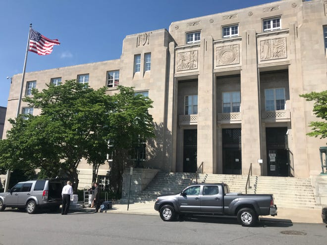 The U.S. Federal Courthouse in Asheville on May 22, 2019, the day of a verdict against an Asheville woman, Shirley Teter, who was suing the right-wing group Project Veritas and founder James O'Keefe for libel.