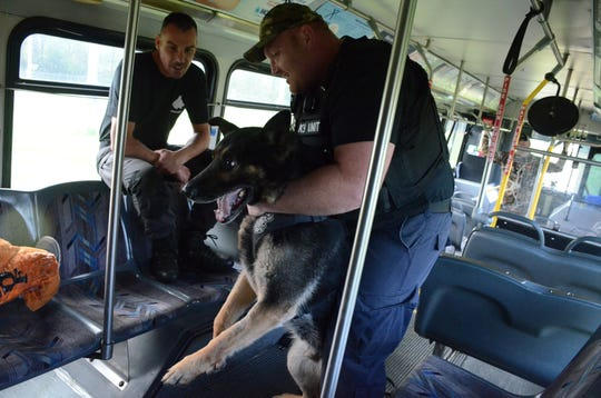 Battle Creek Officer Jim Bailey and Rushin train Wednesday.