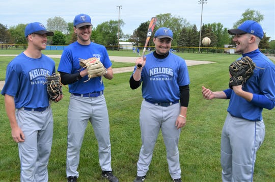 Kellogg Community College will play in the NJCAA Division II World Series, in Oklahoma, starting Saturday. Key sophomores for this year's postseason run have been, from left, Alex Crump, Mark Scannell, AJ Mitchell and Brandon Haynes.