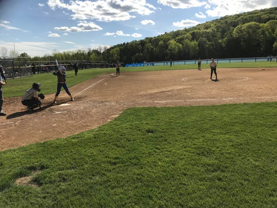 Action from Tuesday's STAC softball final pitting Maine-Endwell against Corning.