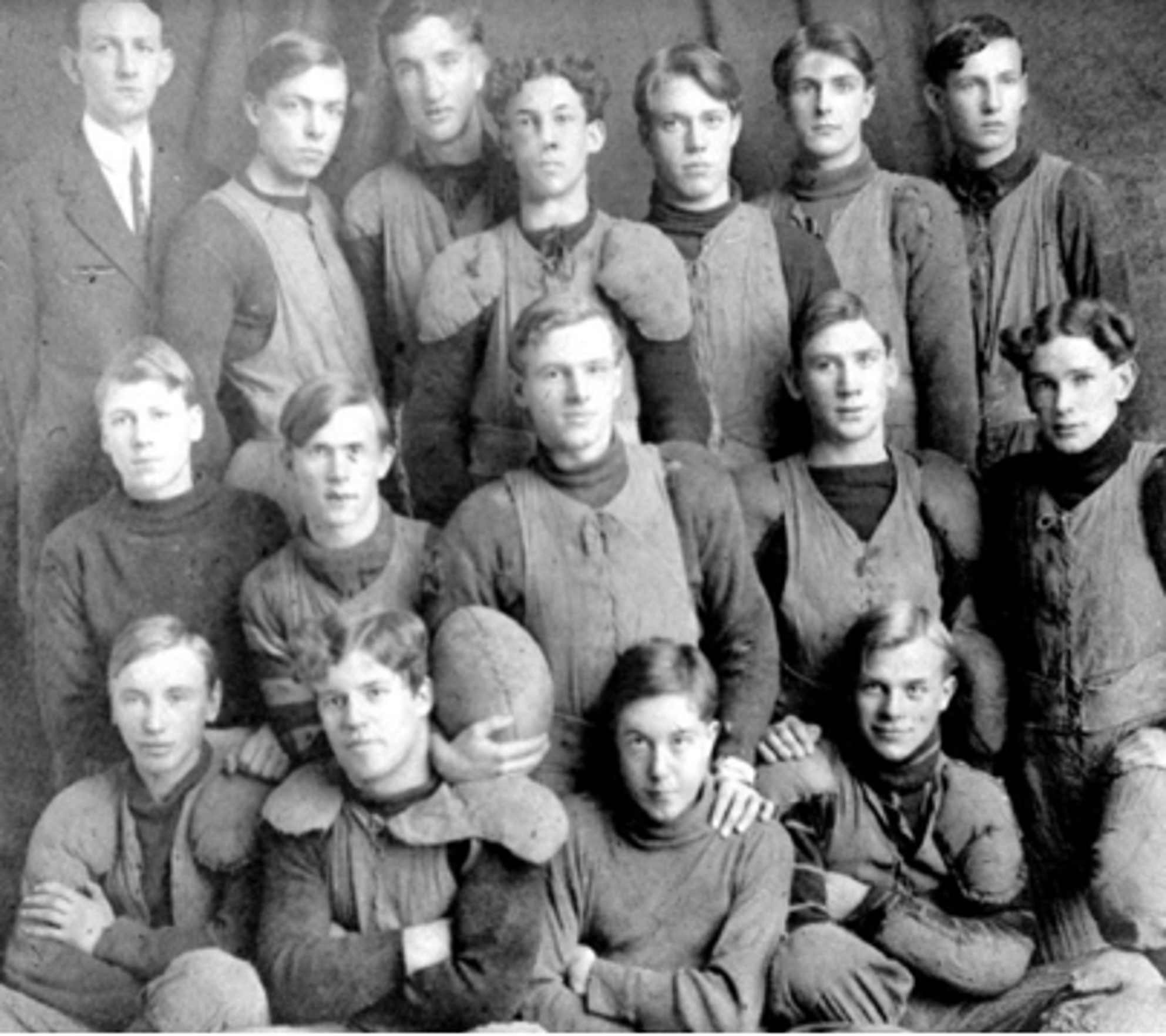 George Winslow (top, second from left) on the 1909 Union High School football team in Bremerton.
