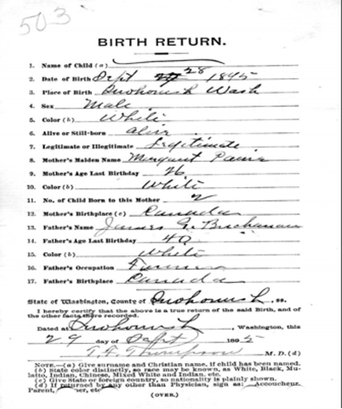 Birth certificate of George Buchanan.