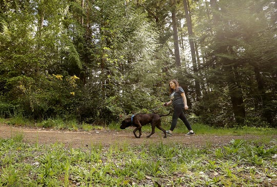 Orientations for Kitsap Humane Society's new Kickin' it with K9s program start over Memorial Day weekend. Kitsap Humane Society's Janie Cordova walks one of the dogs available for adoption on Wednesday.