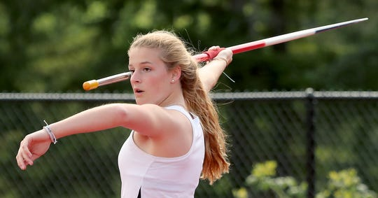 Central Kitsap's Grace Schenk gets ready for a javelin throw during practice on Tuesday, May 21, 2019.