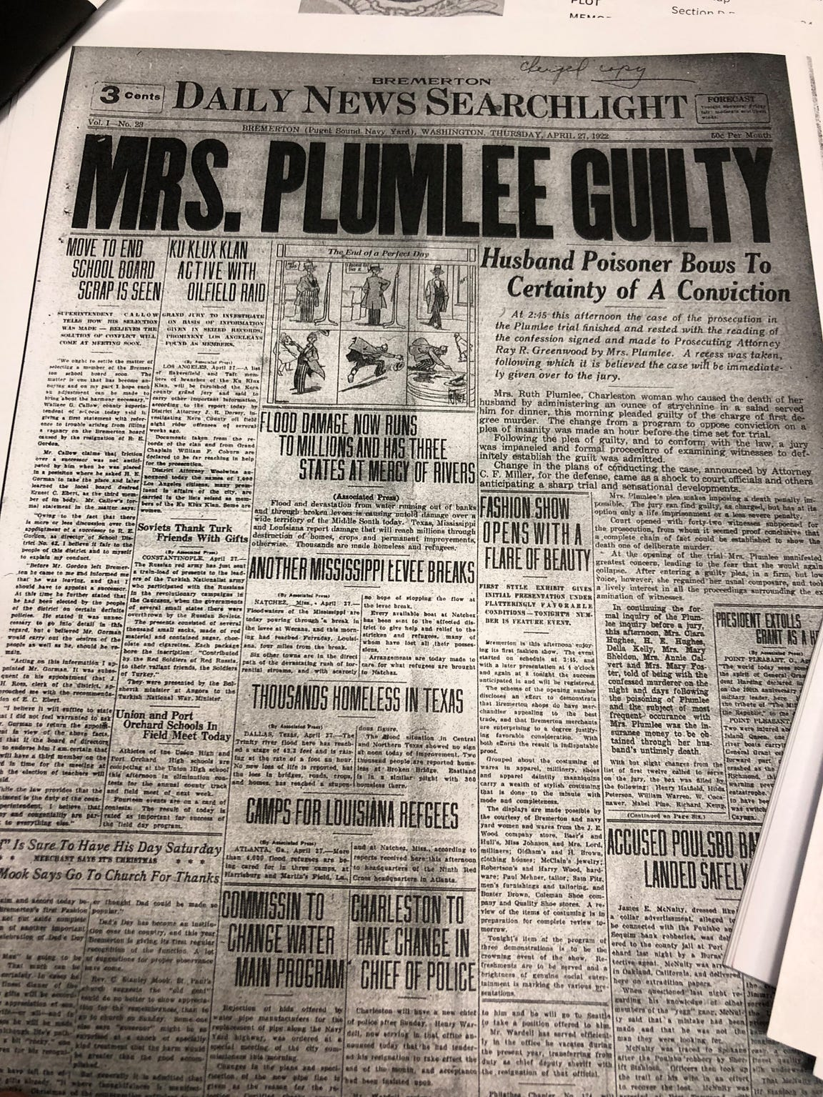 "A headline in the Daily News Searchlight in 1922 reads ""Mrs. Plumlee Guilty."" She was convicted of killing her ""war hero"" husband, Hugh, and sentenced to life imprisonment."