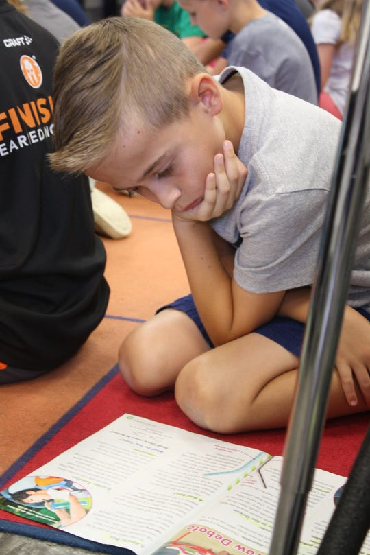 Second-graders during a reading lesson at Manatee Elementary.