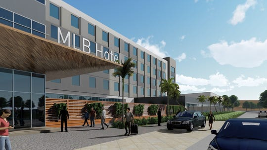 "This artist's rendering depicts the proposed ""fly-in hotel"" at Orlando Melbourne International Airport."