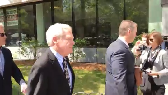 Bill Stenger heads to court in Burlington on May 22, 2019. He and three others are facing charges for their involvement in a visa-fraud scandal.