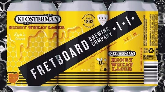 Fretboard Brewing Co.and Klosterman Baking Co. team up to present Klosterman Honey Wheat Lager.