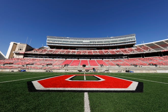 A general view of Ohio Stadium and the Ohio State University Buckeyes logo are seen on the field prior to an NCAA college football game.