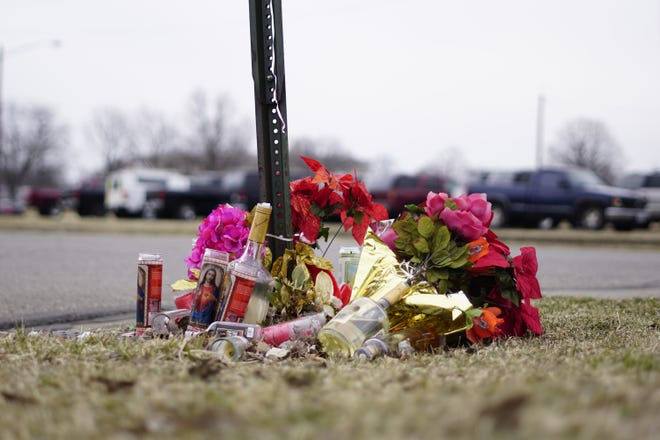 A memorial at the intersection of Ninth and Yankee Streets where Benny Berfield was shot and killed. Thursday Feb. 28, 2019.