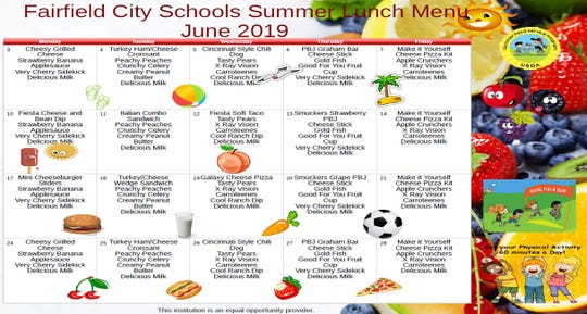 The June lunch menu for the Fairfield City Schools summer lunch program