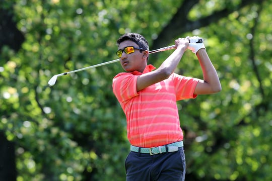 Edison's Mohit Sanagavarapu competes during the GMC Boys Golf Tournament on Wednesday, May 22, 2019 at Tamarack Golf Course in East Brunswick.
