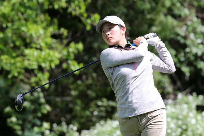 Wardlaw-Hartridge's Sydney Kuo competes during the GMC Boys Golf Tournament on Wednesday, May 22, 2019 at Tamarack Golf Course in East Brunswick.
