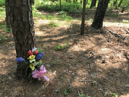 A memorial flower arrangement is in Helmetta Woods near were 16-year-old Betty Jean Belt's was found. Her murder case never was solved.