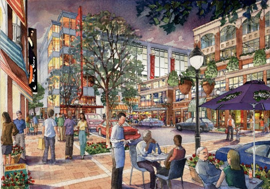 Rendering released by the Ilitch family's Olympia Development in 2014 shows a typical scene that would have arisen in the District Detroit near Little Caesars Arena under plans announced then. Lack of fulfillment of this vision has sparked significant criticism of Christopher Ilitch and Olympia Development. Rendering from Olympia Development and created by Dennis Allain Renderings.