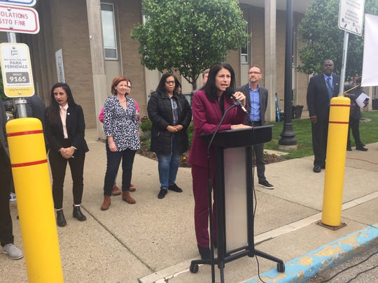 Michigan Attorney General Dana Nessel speaks Tuesday, May 21 at an abortion rights rally outside Ferndale City Hall.