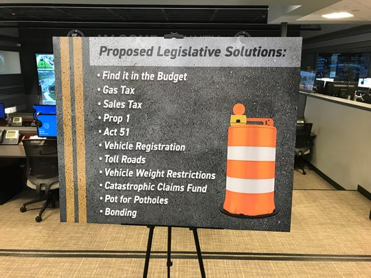 Macomb County Executive Mark Hackel displays proposed legislative solutions that have been presented in the past as possible funding sources to fix Michigan roads during a news conference May 22, 2019 in Mount Clemens.