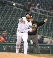 Detroit Tigers third baseman Dawel Lugo throws out a Miami Marlins center batter May 21, 2019 at Comerica Park.