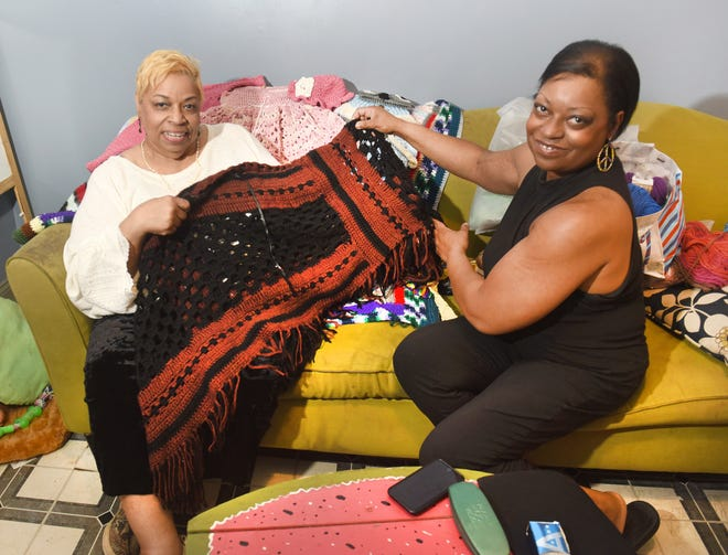 Dahnia Taylor, right,  and her mother Denise Taylor work together to create beautiful crocheted and knitted designs at their home studio.