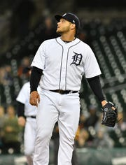 Tigers pitcher Joe Jimenez watches a RBI double by Marlins' Chad Wallach to make it 5-4 Marlins in the 11th inning.
