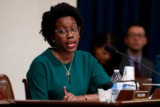 House Homeland Security Committee member Rep. Lauren Underwood, D-Ill., questions Acting Secretary of Homeland Security Kevin McAleenan on Capitol Hill in Washington, Wednesday, May 22, 2019, during the House Homeland Security Committee on budget.