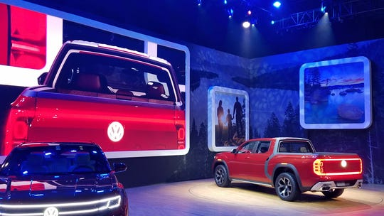 VW has debuted two pickup concepts in the last two years as it explores the U.S. pickup market. The 2018 Tanoak concept shown here at the New York show is based on the Atlas SUV and would compete in the mid-size pickup market.