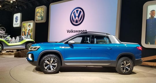 The 2019 compact VW Tarok pickup truck concept is currently configured for the South American market with an economical, 147-horse, 1.4-liter engine. If it was brought to the U.S., VW says that would likely be bumped up to a more capable engine found in the U.S. Golf and Jetta models.