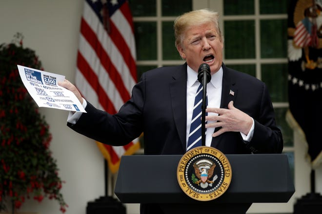 President Donald Trump speaks in the Rose Garden, Wednesday, May 22, 2019, in Washington.