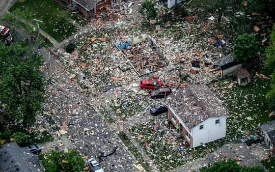 The scene of a deadly home explosion in Jeffersonville, Ind., on Sunday, May 19, 2019.