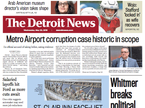 The front page of The Detroit News on Wednesday, May 22, 2019.